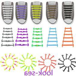 12 Pcs Lazy Shoe String Laces Easy Sneaker Elastic No Tie Sh