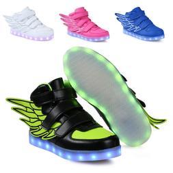 2019 Boys Girls Wings LED Shoes Light Up Luminous Sneakers G