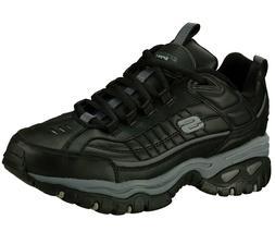 Skechers Black EW Wide Width shoes Men New Sport Train Leath