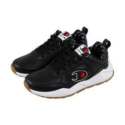 Champion 93 Eighteen Big Mens Black Leather Low Top Lace Up