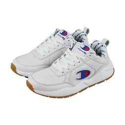 Champion 93 Eighteen Big Mens White Leather Low Top Lace Up