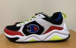 Champion 93Eighteen Block Sneaker Shoes: White/Black/Neon- M
