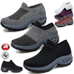 Air Cushion Running Sneakers Breathable Mesh Slip-On Casual