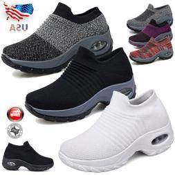 Air Cushion Sneakers Mesh Walking Slip-On Running Sport Shoe