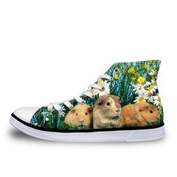 Animal High Top Canvas Shoes Women Fashion Flat Shoes Lace-u