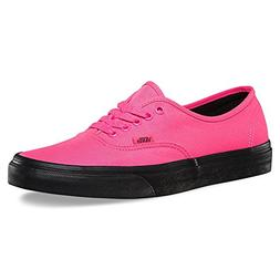 Vans Authentic Black Outsole Fashion Sneakers,Neon Pink/Blac
