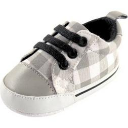 Luvable Friends Baby Boy Basic Canvas Sneakers Grey Plaid 12