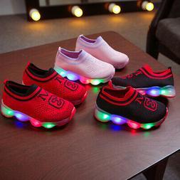 Baby Boys Girls Kids Running Shoes Sneakers LED Light Up Lum