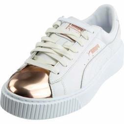 Puma Basket Platform Metallic Sneakers Casual    - White - W