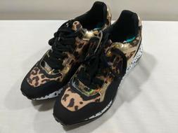 bena leopard print gold platform shoes sneakers