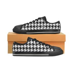 Black and White Houndstooth Pattern Low Top Sneakers Canvas