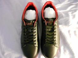 POLO Ralph Lauren Black Leather Men's Fashion Sneakers   Siz