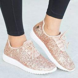 Bling Shoes Lace-up Woman Plus Size Soft Flat Sneakers Casua