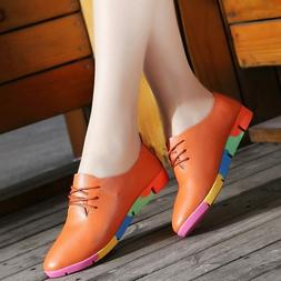 Breathable Pu Leather Flats Shoes Woman Sneakers Plus Size N