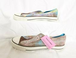 AIRWALK Brown Plaid Canvas Lace-Up Fashion Sneakers - Women'