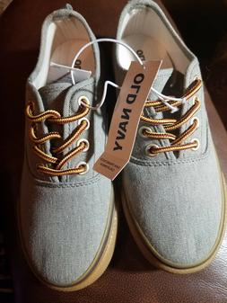 Old Navy Canvas Lace-Up Sneakers for Boys Gray Size 12 NWT
