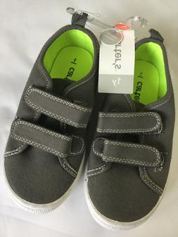 Carters Boys Gray Casual Sneakers Shoes Size 1Y Easy On Clos