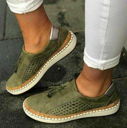 Casual Women's Sneakers Shoes Slip On Openwork Tassel Loafer
