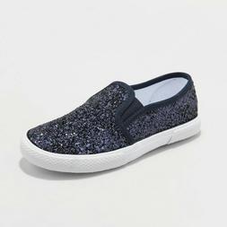Cat & Jack Girls Youth Slip On Glitter Sneakers Navy Blue Si