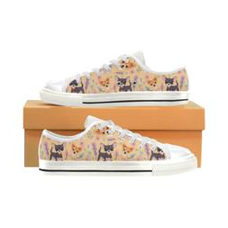 Chihuahua Flower Fashion Low Top Sneakers Classic Canvas Sho