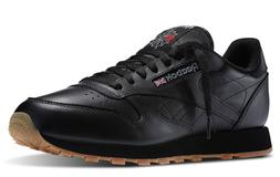 Reebok Classic Leather Black Gum Sole Fashion Mens Shoes Sne