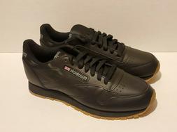 Reebok Classic Leather Black Gum Sole Fashion Sneakers  MENS
