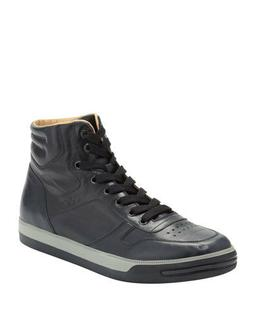 CLEARANCE TOD'S Men's High Top Navy Blue Leather Sneakers Si