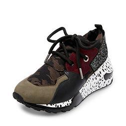 Steve Madden Women's Cliff Sneaker, Olive Multi, 8.5 M US