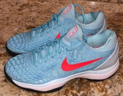 NIKE Court Zoom Cage 3 Still Blue Bri Crimson Tennis Shoes S