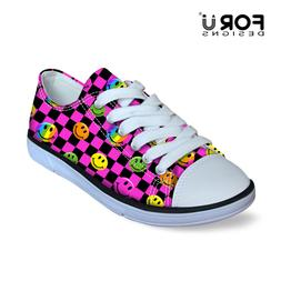 Cute Smile Emoji Chilren's Canvas Shoes Little Kids Sneakers