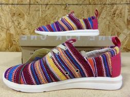 Toms Del Rey Womens Raspberry Tribal Woven Sneakers Size 5