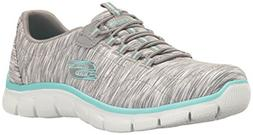 Skechers Empire-Game On Gray/ Light Blue Womens Fashion Snea