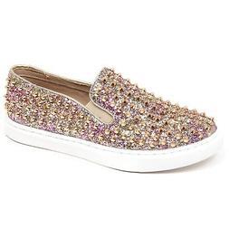 F1078 sneaker donna gold/pink STEVE MADDEN glitter/stud slip