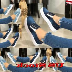 Fashion Women's Slip On Loafers Sneakers Casual Flat Bottom
