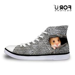 Funny Animal Print Lace up Canvas Shoes High-top Casual Snea
