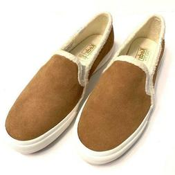 fuzzy lined slip on suede sneakers