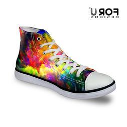 Galaxy High Top Canvas Shoes Women Fashion Flat Shoes Lace-u