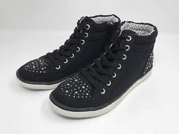 Justice for Girls Black Canvas High Top Sneakers Back to Sch