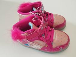 Girls Fuchsia Trolls Glitter Pink Sneakers Tennis Shoes Scho