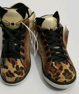 Justice For Girls High Top Cat Leopard Sneakers With Glitter