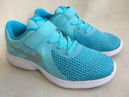 NIKE Girls Revolution 4 Running Shoes Sneakers Aqua Blue 943