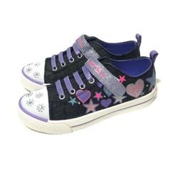 AIRWALK Girl's Size 1 Purple Denim Light Up Hearts Canvas