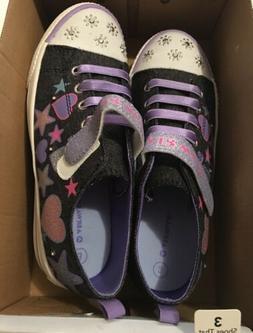 Airwalk Girls Size 2 Light Up Purple Black Sparkle Strap Sne