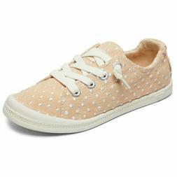 Roxy Girls Sneakers Bayshore Slip Ons Pink Blush Polka Dots