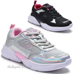 Girls Sneakers Tennis Shoes Metallic Toddler Youth Kids Casu