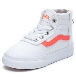 VANS Maddie Kids Shoes White Hi Top Athletic Sneakers Zip Up
