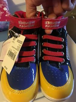 Girls Wonder Woman size 10 Youth high top sneakers brand new