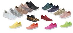 Girls Youth Kids Sequin Glitter Lace Up Fashion Shoes Comfor