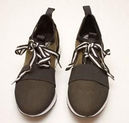 Steve Madden green leather mesh block sneakers athletic shoe