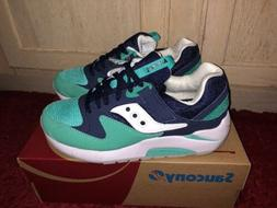 Saucony Grid 9000 Navy Blue Teal White Mens Running Sneakers